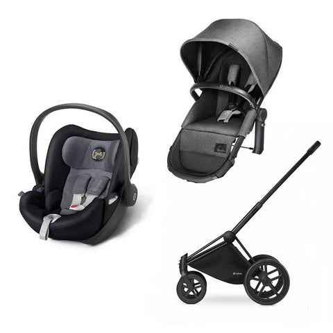 Cybex Priam 2in1 Travel System - Manhattan Grey-Stroller Bundles-Black- Natural Baby Shower