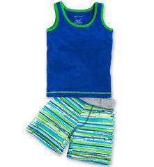 Organic Navy Tank & Beach Stripe Short Playset