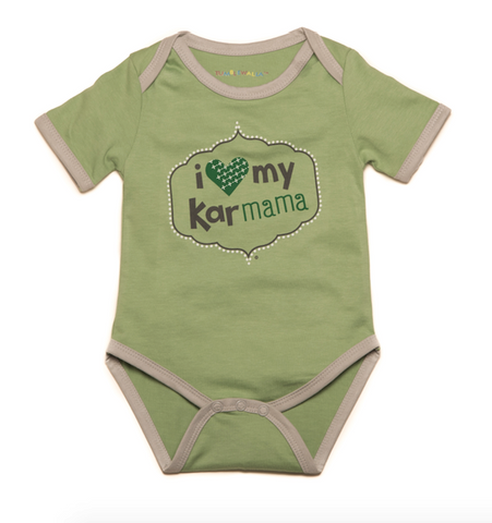 """I Love My Karmama"" Organic Green One-Piece"