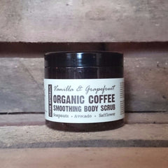 organic vanilla and grapefruit coffee body scrub by living naturally vegan cruelty free