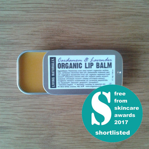 vegan organic lip balm made with organic soapnut extract - cardamom & lavender