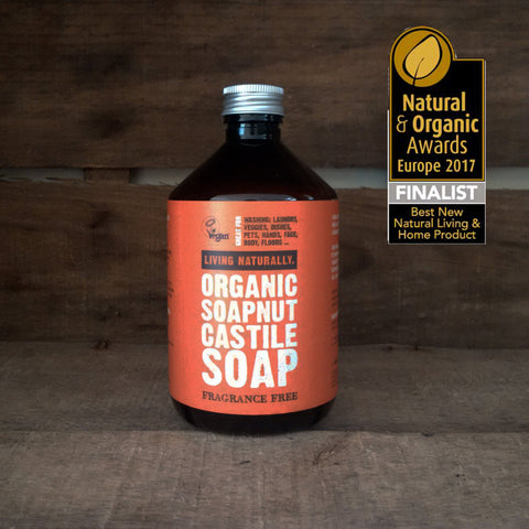 vegan organic soapnut castile soap for laundry, hands, face, petwash, veggie wash dish liquid