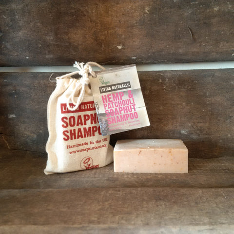 hemp and patchouli soapnut shampoo bar no poo vegan zero waste sls free palm oil free ethical handmade