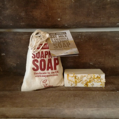 award winning sls free gluten free Oat Milk and calendula Soap nut vegan Soap 90g zero waste