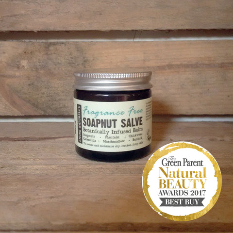 award-winning vegan organic soapnut herbal salve for sensitive skin eczema psoriasis sunburn insect bites rashes