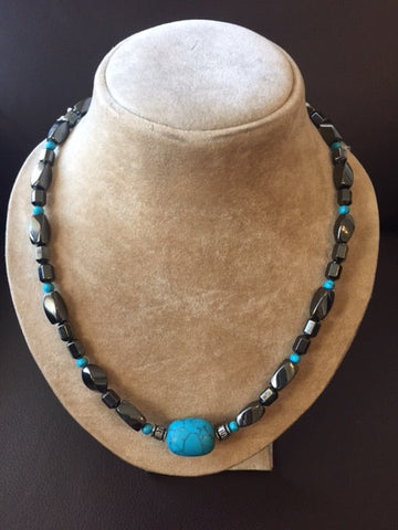 Magnetic Hematite Necklace with Turquoise Stones