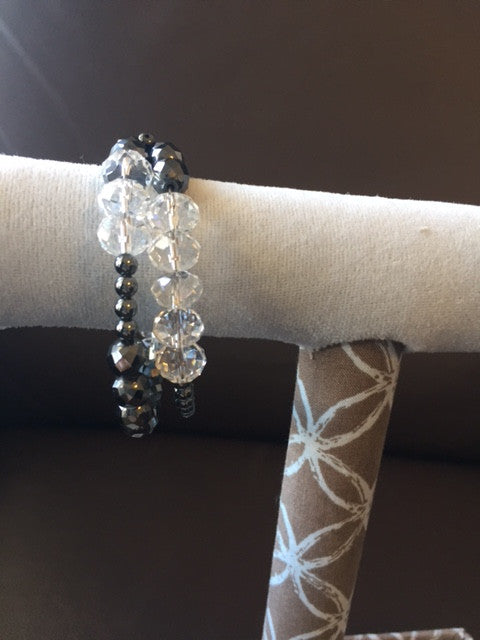 Magnetic Bracelet/Anklet with Hematite and Crystals