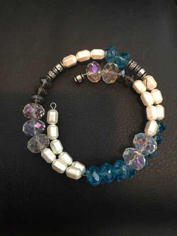 Clearance Magnetic Faux Pearl and Blue and Clear Glass Beads