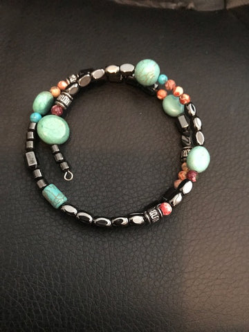 Clearance Magnetic Bracelet with Turquoise Beads
