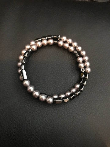 Clearance Magnetic Bracelet with Faux Pearls