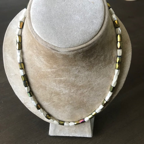 Magnetic Necklace with Pearl and Gold Beads - Last One!