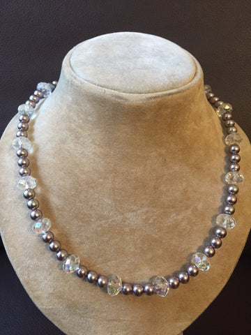 Magnetic Glass Crystal Pearl Necklace