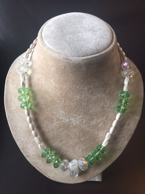 Magnetic Necklace with Green Reflective Glass Beads