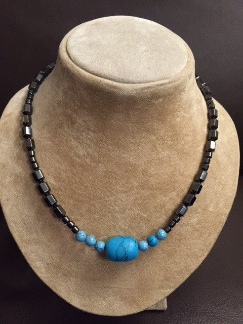 Magnetic Hematite Black Onyx with Turquoise Pendant
