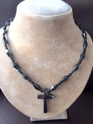 Necklace with Magnetic beads and Cross
