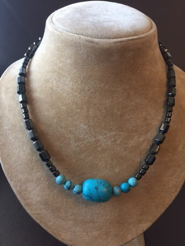 Magnetic Necklace with Turquoise Pendant