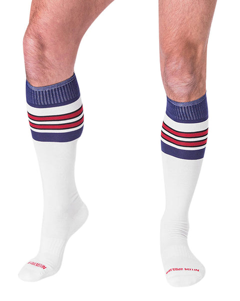 Barcode Berlin Football Socks White Blue Red 90143