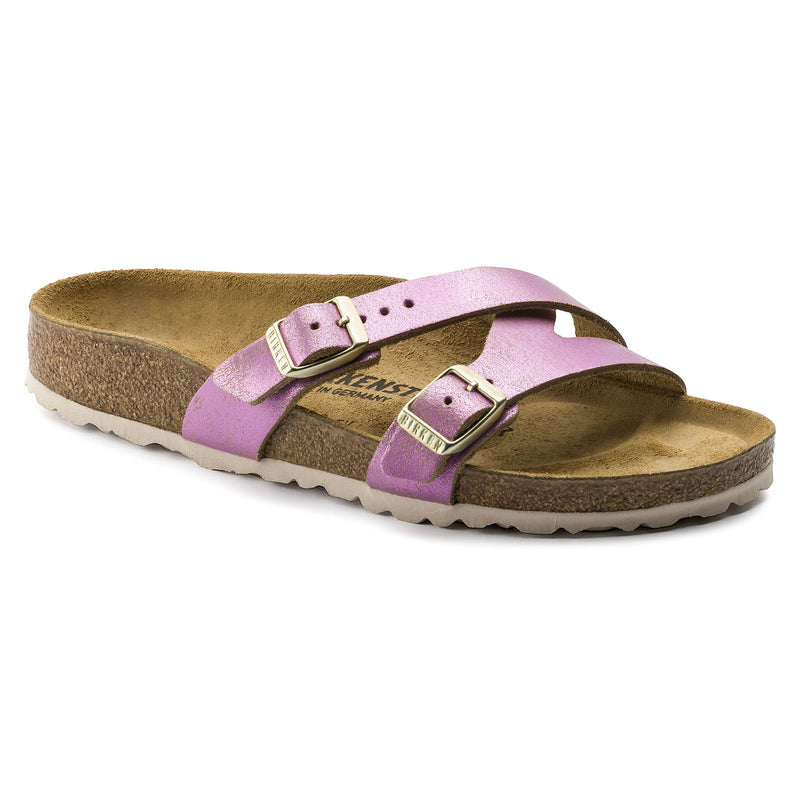 Birkenstock Yao washed metallic pink leather