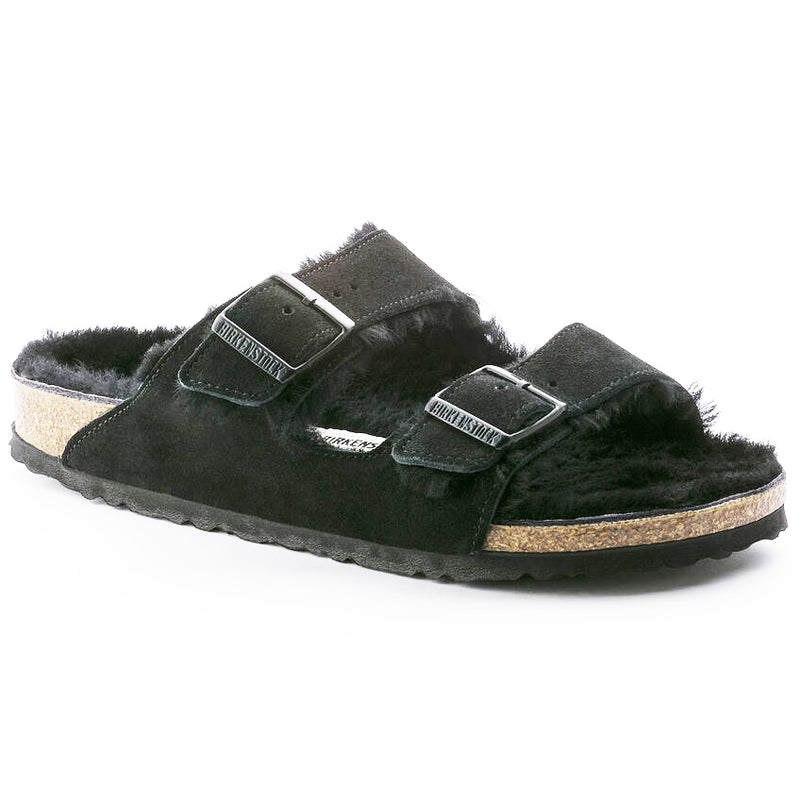 Birkenstock Arizona black suede with black shearling