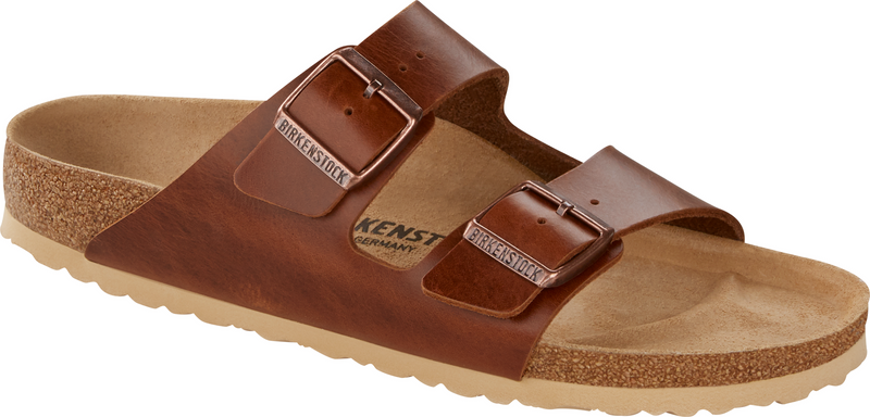 Birkenstock Arizona antique pull up cognac