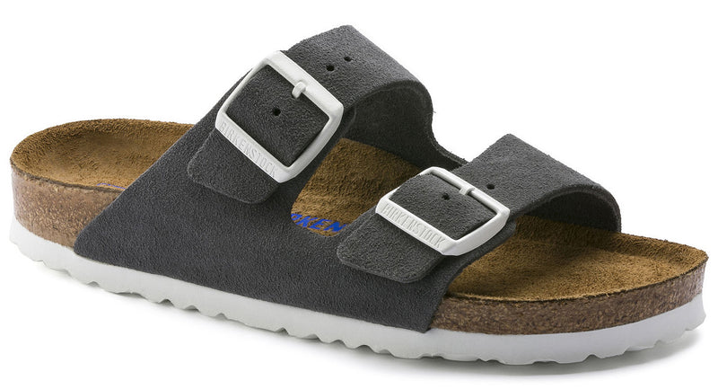 Birkenstock Arizona Soft Footbed gunmetal suede narrow