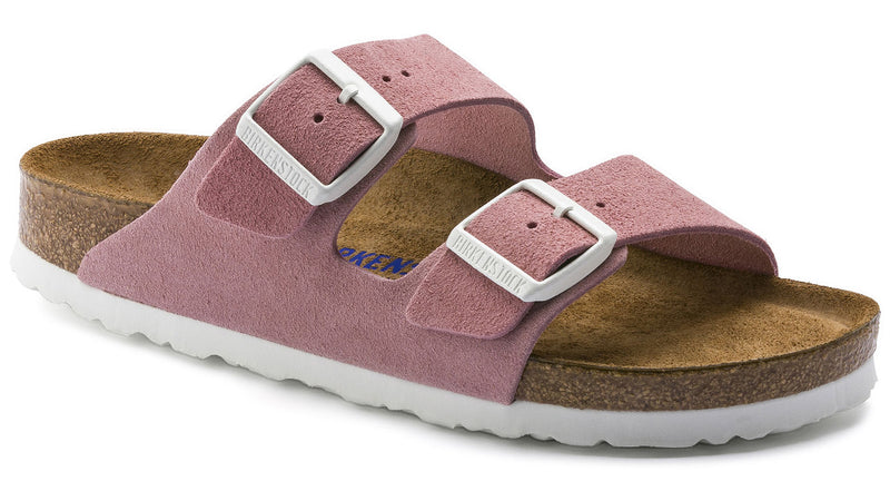 Birkenstock Arizona Soft Footbed rose suede white buckle narrow