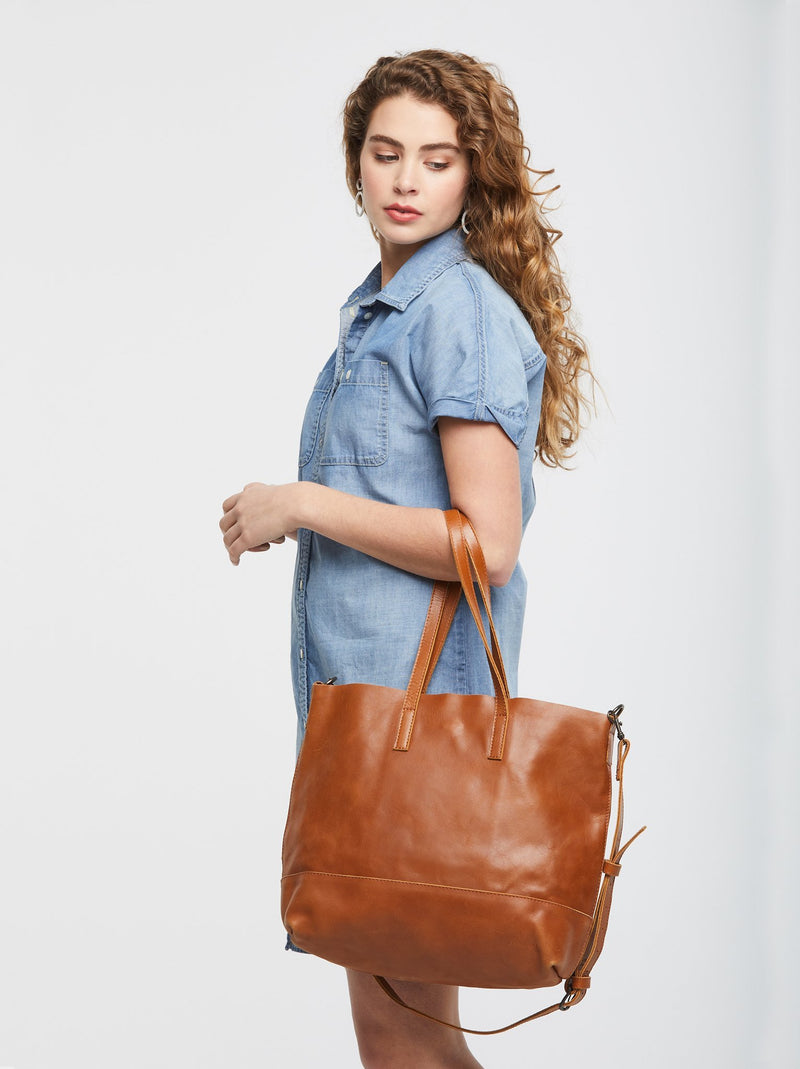 ABLE Abera Crossbody Tote chestnut leather