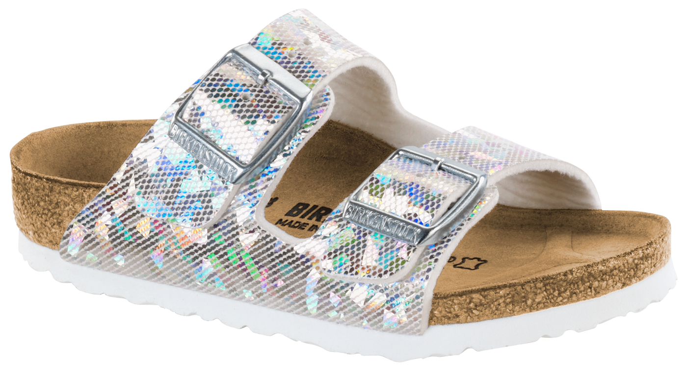 0e52d88ae88 Birkenstock Arizona Kids  hologram silver Birko-flor – Footprints Lawrence