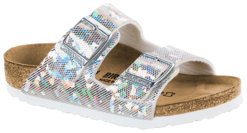 e2995442a71a Birkenstock Arizona Kids  hologram silver Birko-flor – Footprints Lawrence
