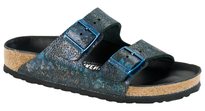 Birkenstock Arizona Lux spotted metallic black leather