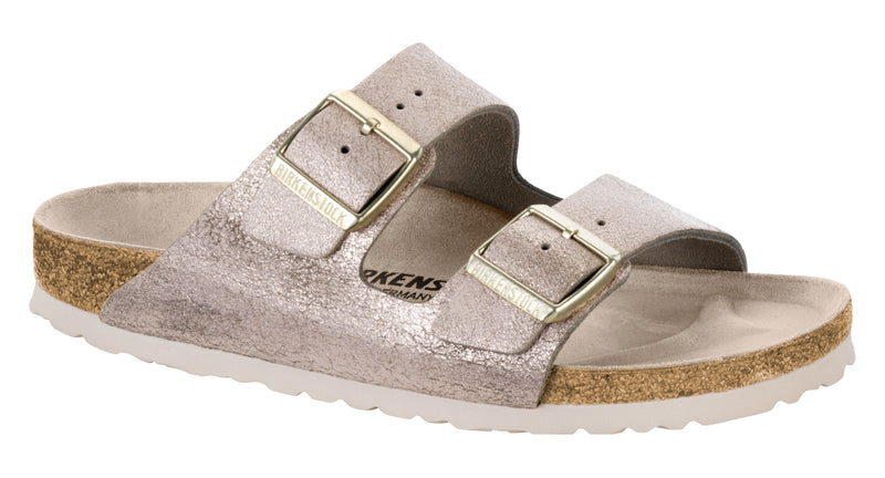 Birkenstock Arizona washed metallic rose leather