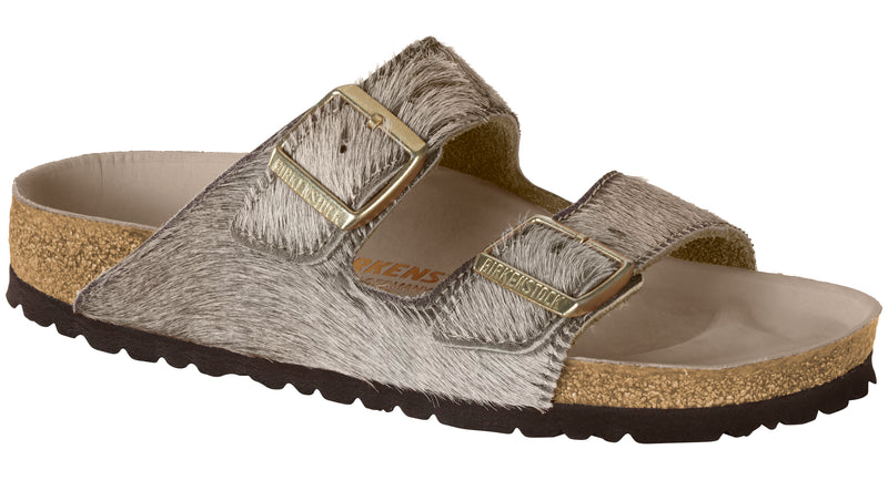 Birkenstock Arizona Womens Hex gray melange hair on hide