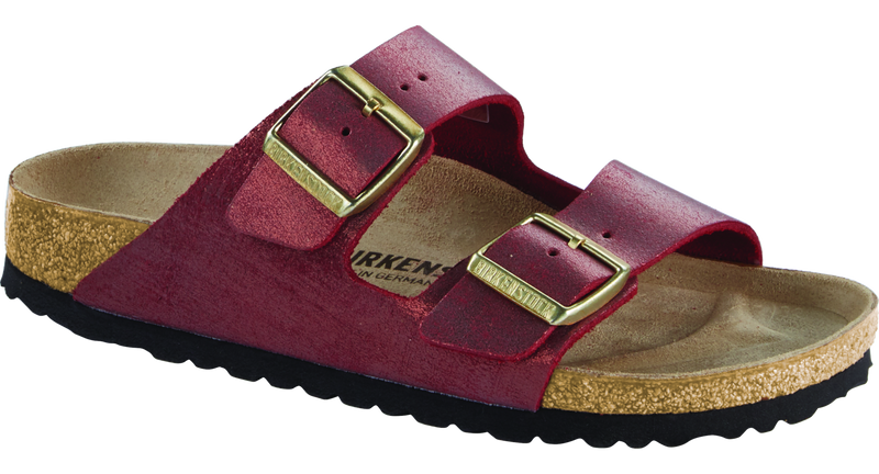 Birkenstock Arizona washed metallic port leather