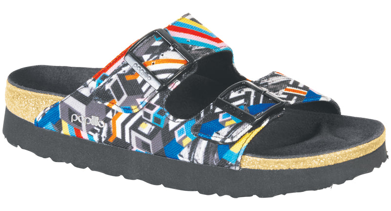 Papillio Arizona Platform clash polychromatic textile licensed by Birkenstock