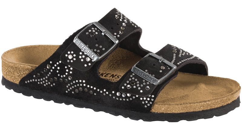 Birkenstock Arizona Rivets injected black suede