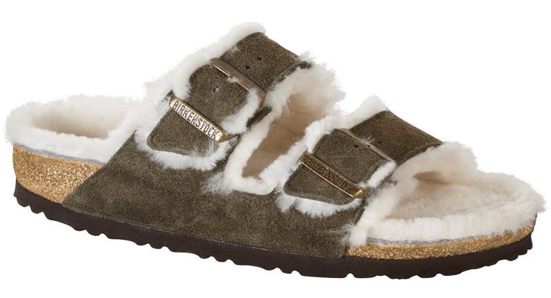 Birkenstock Arizona forest natural suede shearling