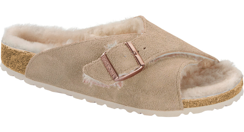 Birkenstock Arosa nude suede with shearling wool
