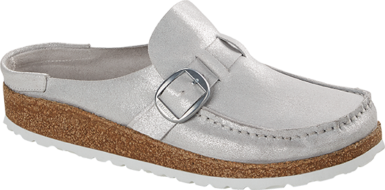 Birkenstock Buckley washed metallic silver leather