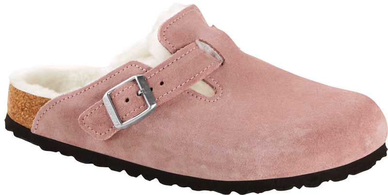 Birkenstock Boston Shearling lavender suede with natural shearling