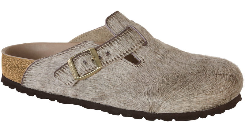 Birkenstock Boston Mens Hex gray melange hair on hide