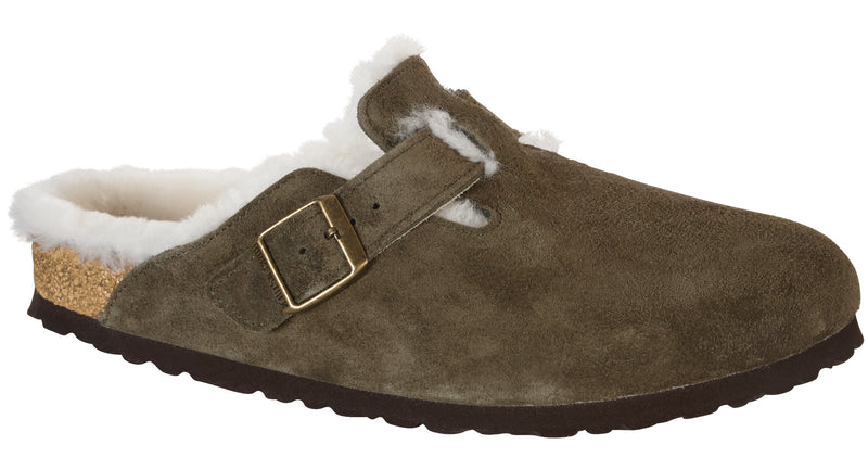 Birkenstock Boston forest natural suede shearling