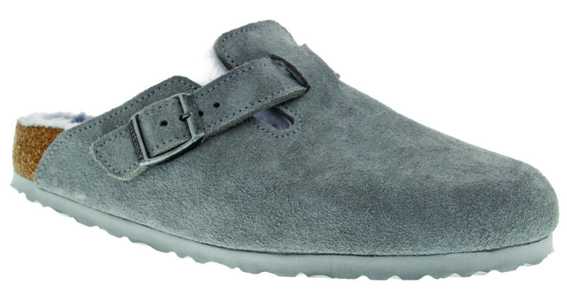 Birkenstock Boston Shearling dove gray suede