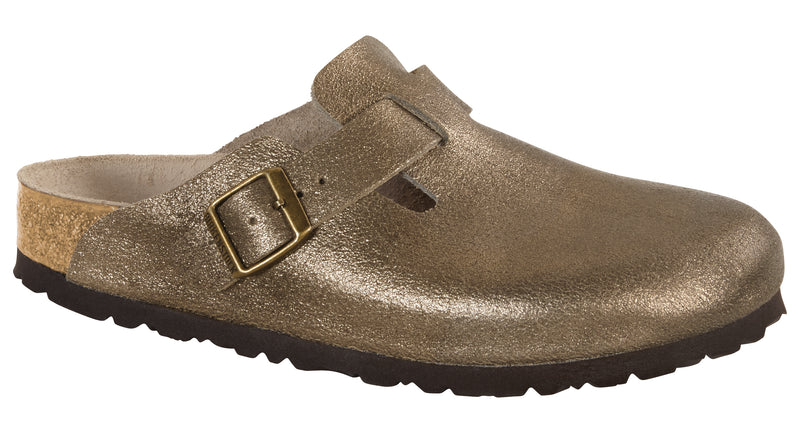 Birkenstock Boston washed metallic antique gold leather