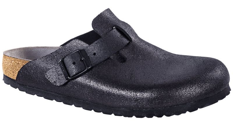 Birkenstock Boston washed metallic antique black leather