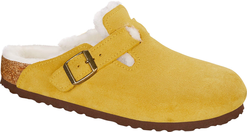 Birkenstock Boston Shearling ochre suede with natural shearling