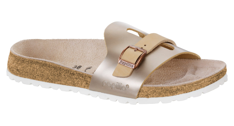 Papillio Carmen metallic rose leather licensed by Birkenstock
