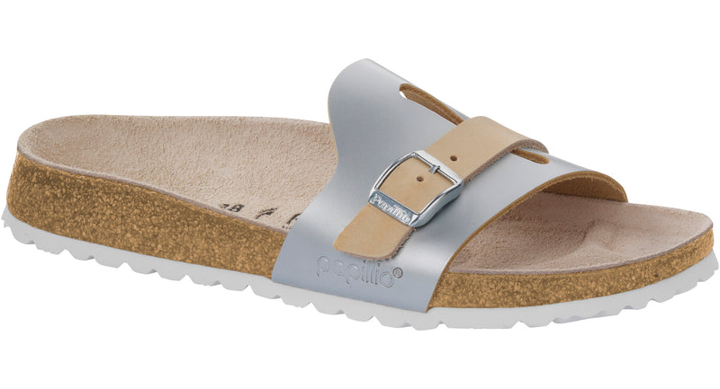 Papillio Carmen metallic silver leather licensed by Birkenstock