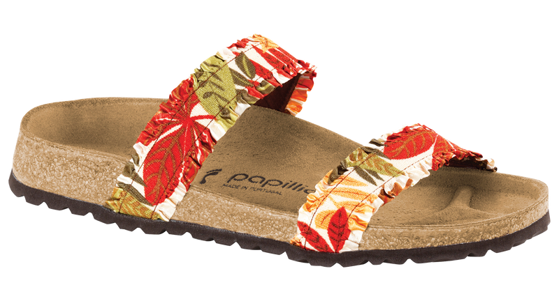 Papillio Curacao flower frill brown stretch by Birkenstock