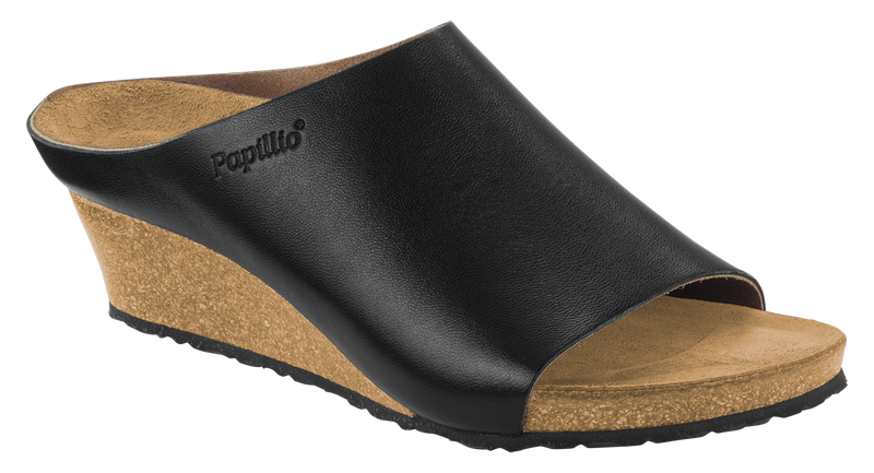 Papillio Debby black leather licensed by Birkenstock