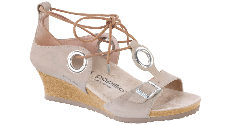 Papillio Emmy smooth taupe suede licensed by Birkenstock